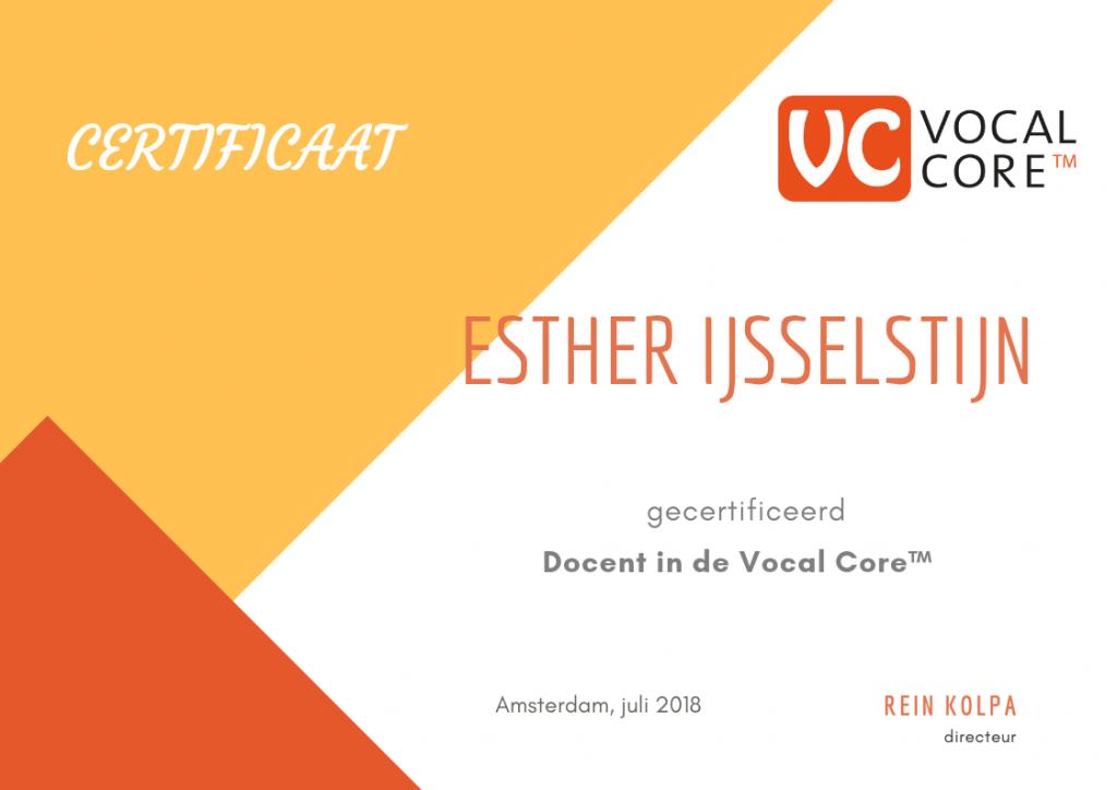 Voorbeeld van een Vocal Core™ certificaat